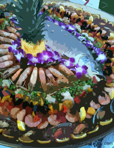 Paella Salmon with Pineapple & Edible Orchids