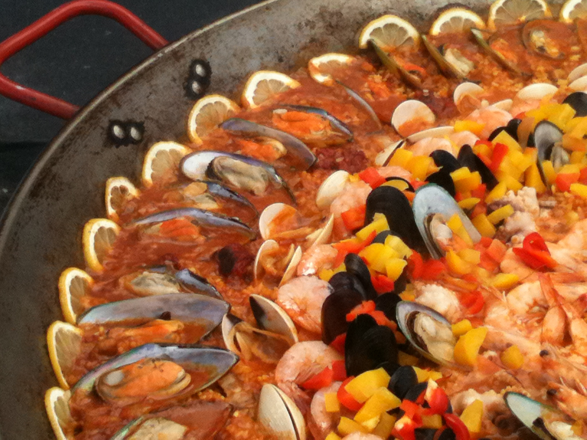 Seafood Paella with gr...